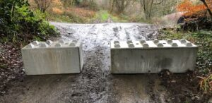 Concrete Blocks installed to prevent barriers